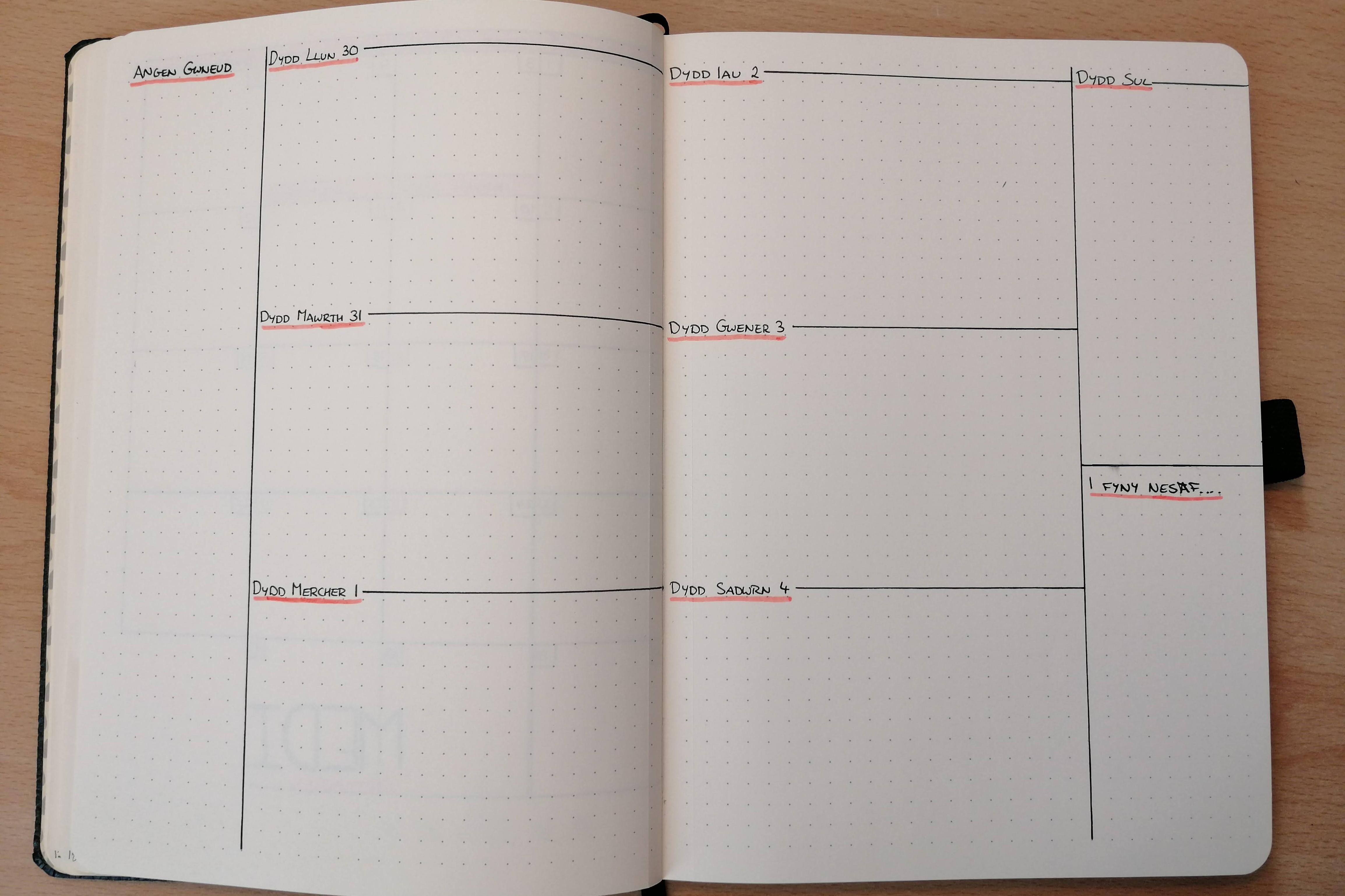 bullet journal week tracker